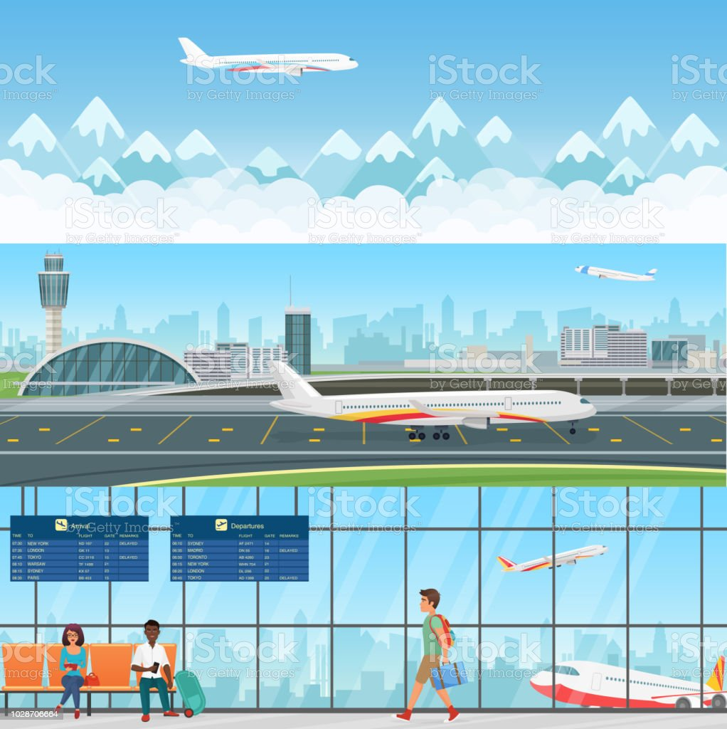 Airport detailed horizontal vector banners templates. Waiting room in terminal with passengers people. Travel concept flying aircraft with mountains in clouds. vector art illustration