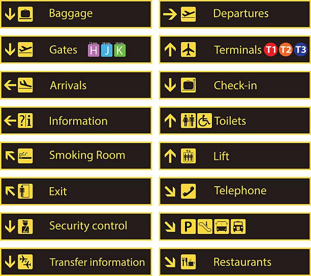 Airport direction signs Airport direction signs airport symbols stock illustrations
