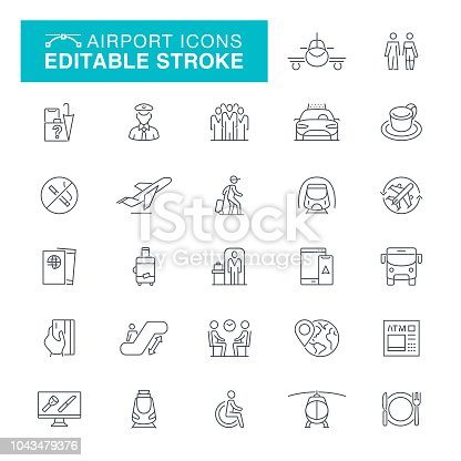 Airplane, Passport, Bus, Luggage, Internet, Ticket Editable Line Icon Set