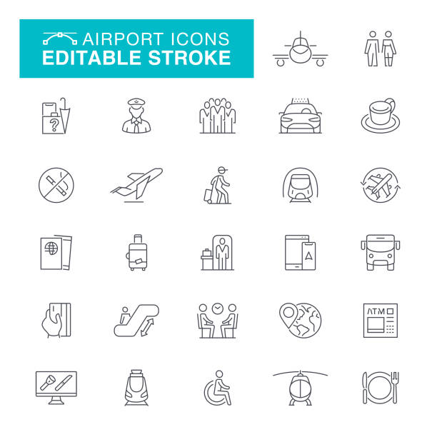 Airport Editable Stroke Icons Airplane, Passport, Bus, Luggage, Internet, Ticket Editable Line Icon Set airport icons stock illustrations
