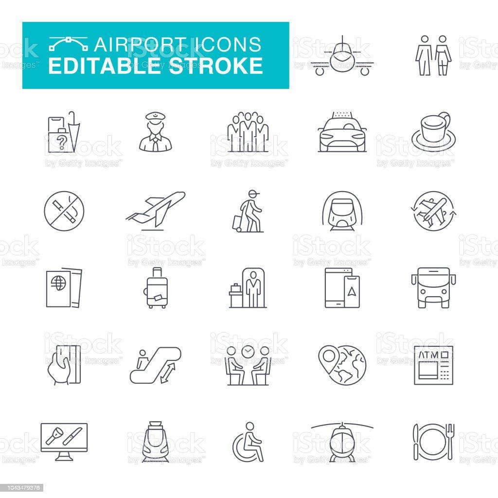 Airport Editable Stroke Icons vector art illustration