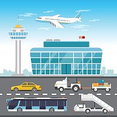 Airport elements vector flat design illustration.
