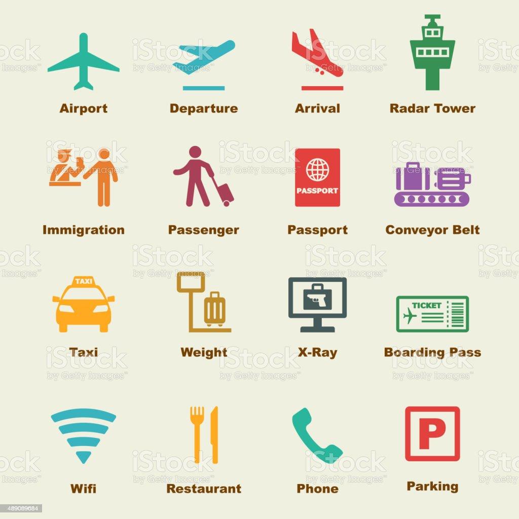 airport elements vector art illustration