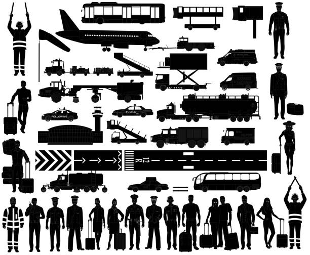 Airport equipment and people set. Silhouettes Airport equipment and people. Silhouettes. Pilots, stewardesses and airport staff in uniform. Passengers with baggage. Airport vehicles. Isolated on white, vector airport silhouettes stock illustrations