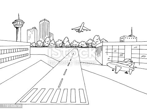 istock Airport exterior graphic black white sketch illustration vector 1191409795