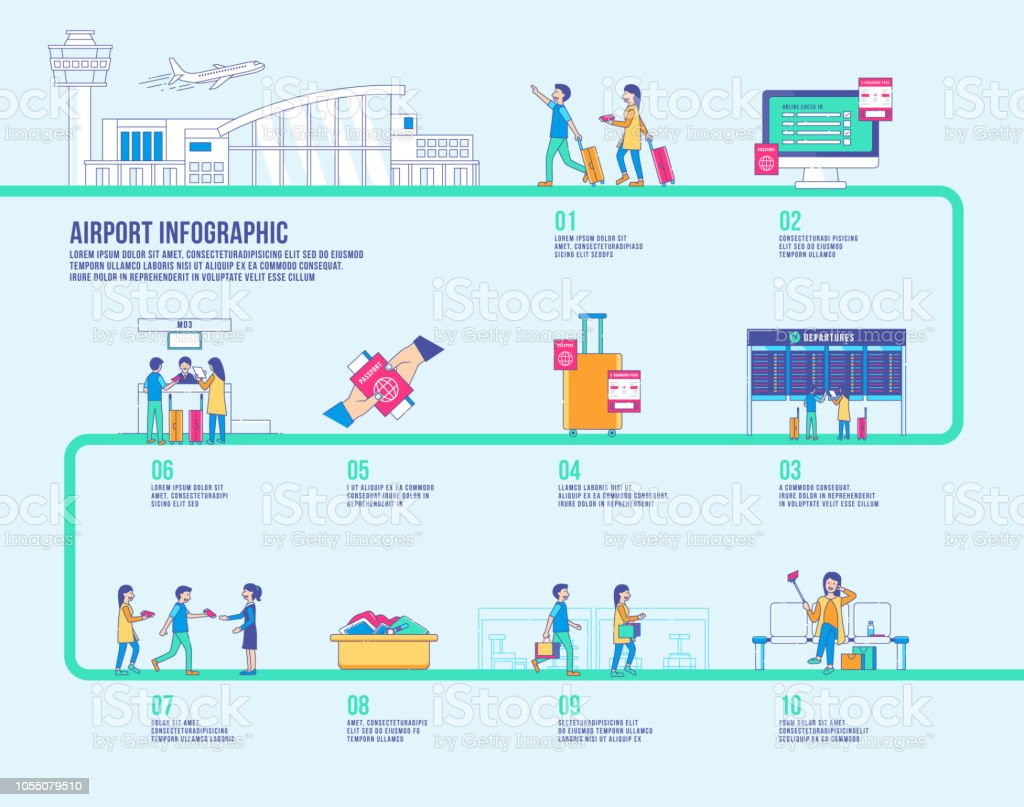 Airport first time infographic vector vector art illustration