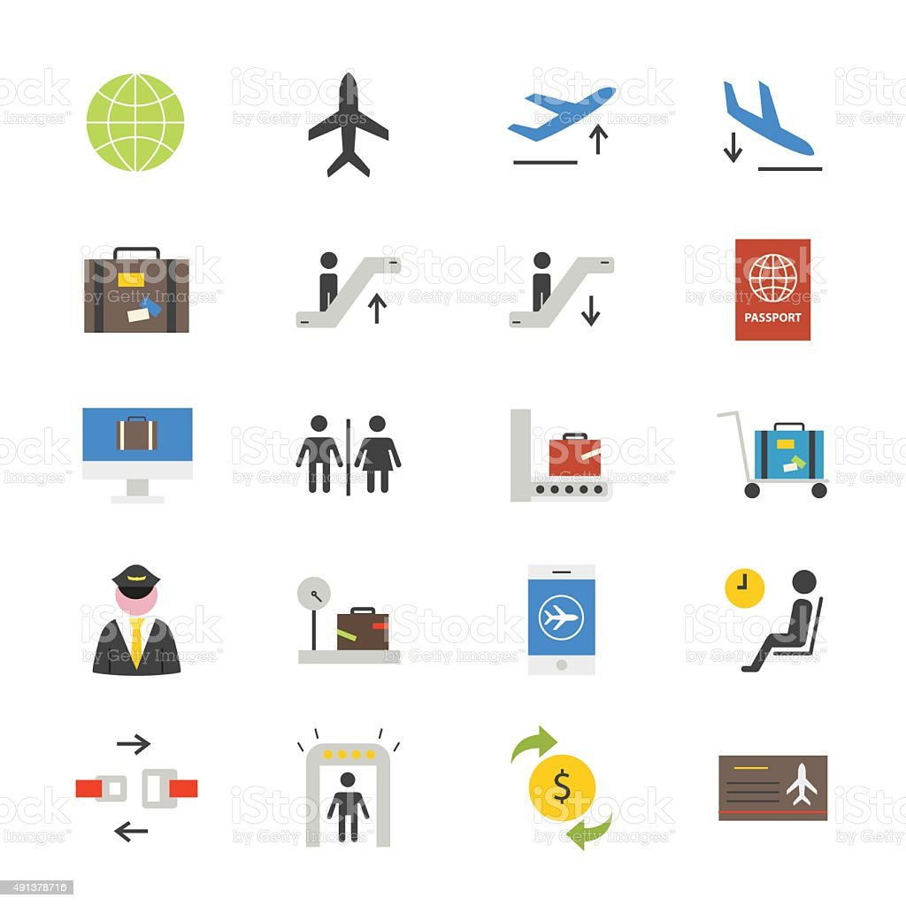 Airport Flat Icons color vector art illustration