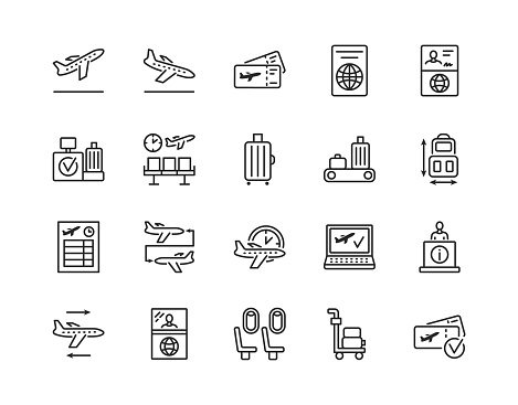 Airport flat line icon set. Vector illustration included online booking, tickets, check in, customs and connecting flight. Editable strokes