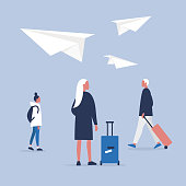Airport. Flight. Group of passengers carrying their luggage. Flat editable vector illustration, clip art