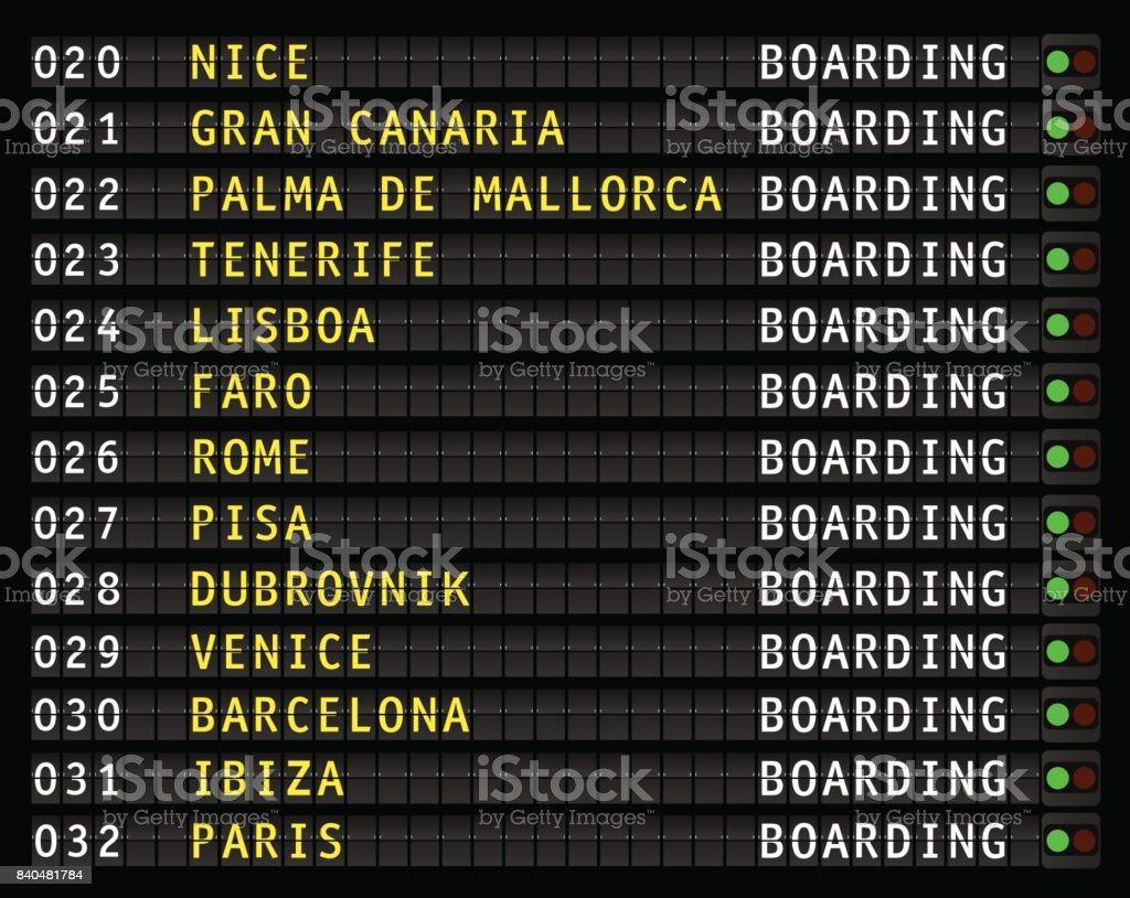 airport flight information display, vacation, vector vector art illustration