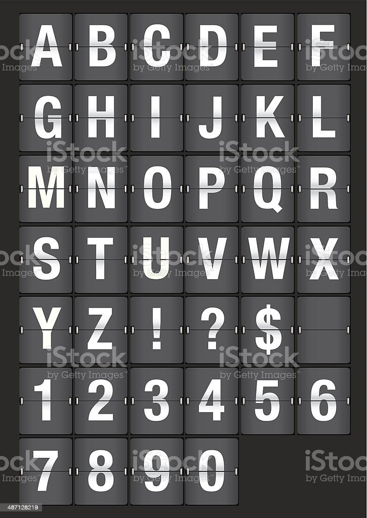 Airport Flip Board Analog Fonts Stock Illustration