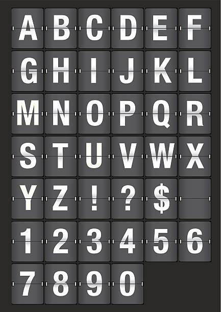 flughafen flip board analog-schriften - flipchart stock-grafiken, -clipart, -cartoons und -symbole