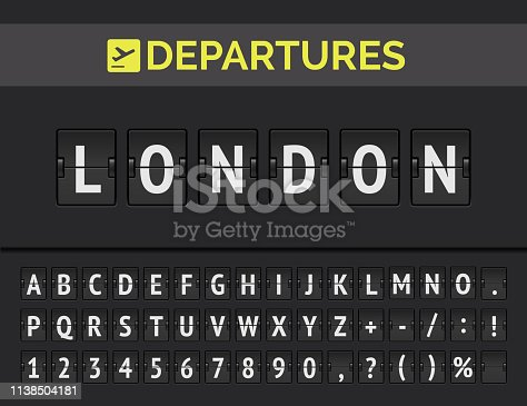 Analog airport flip board with flight info of departure destination in Europe London with airline sign icon and full font. Vector