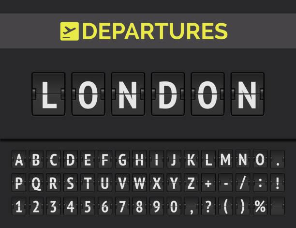 stockillustraties, clipart, cartoons en iconen met luchthaven flipboard font toont vlucht vertrek bestemming in europa londen. vector - instappen