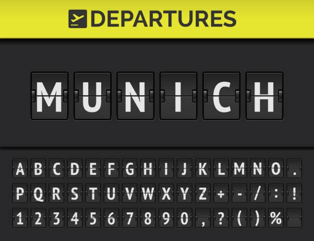bildbanksillustrationer, clip art samt tecknat material och ikoner med flyg plats flip board font visar flyg avgång destination i europa münchen. vektor - munich train station