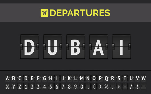 Airport flip board of flight to Dubai in UAE. Vector illustration of departures mechanical board