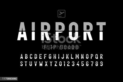 istock Airport flip board panel style font 1175893560
