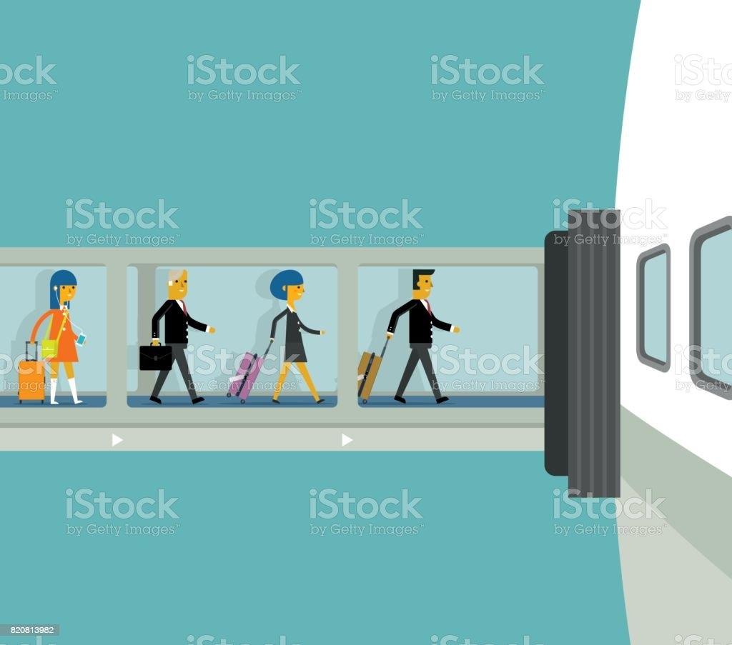 Airport gate finger dock vector art illustration