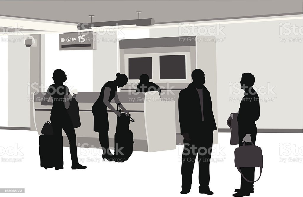 Airport Gate Vector Silhouette vector art illustration