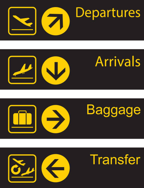 Airport guide board File format is EPS10.0.  airport icons stock illustrations