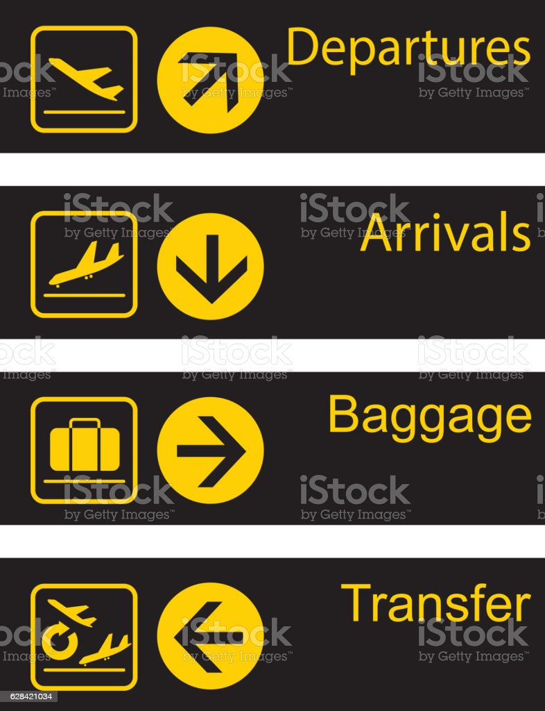Airport guide board vector art illustration