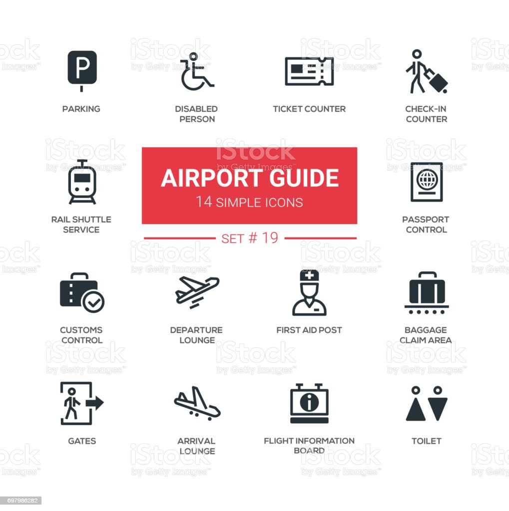 Airport guide - modern simple icons, pictograms set vector art illustration