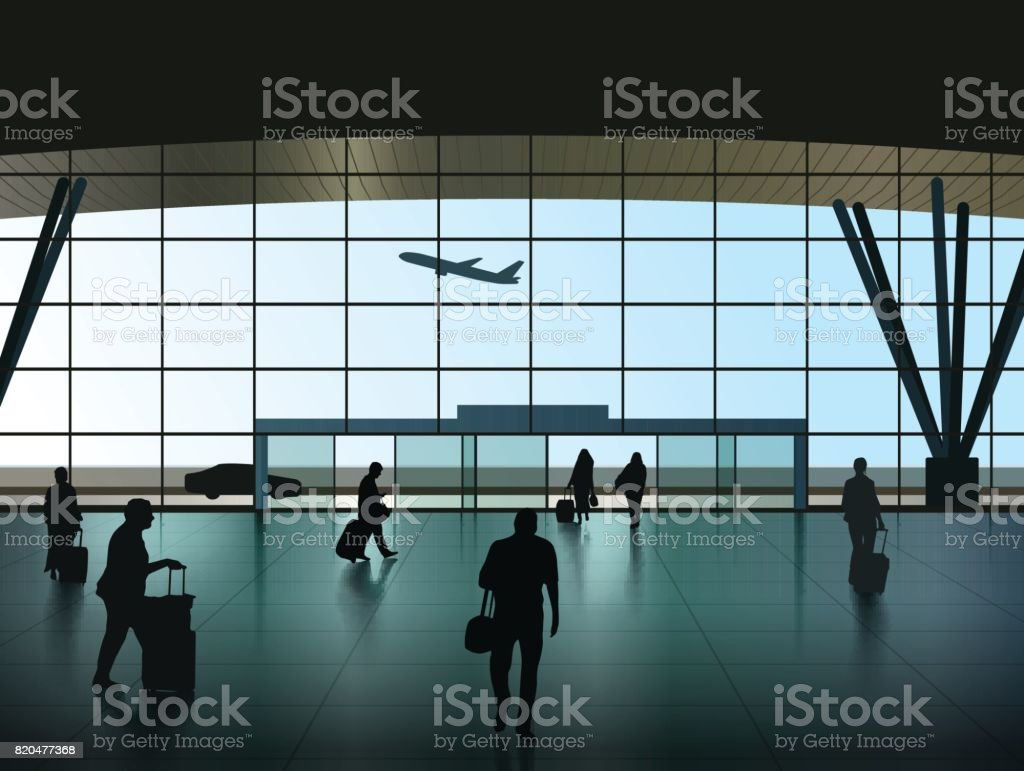 Airport Hall vector art illustration