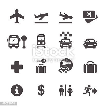 airport icon set, vector eps10.