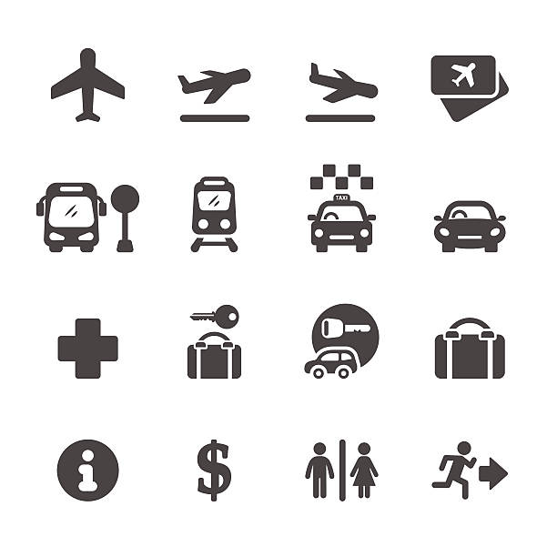 airport icon set, vector eps10 airport icon set, vector eps10. personal land vehicle stock illustrations