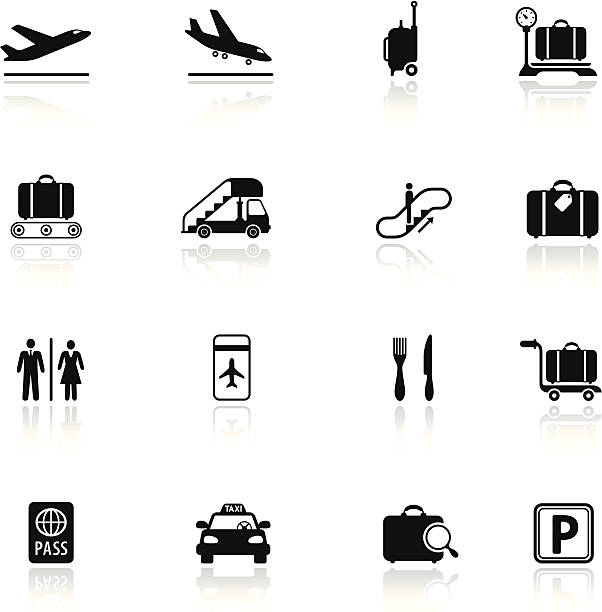 Airport Icon Set High Resolution JPG,CS5 AI and Illustrator EPS 10 included. Each element is named,grouped and layered separately. Very easy to edit.  airport clipart stock illustrations