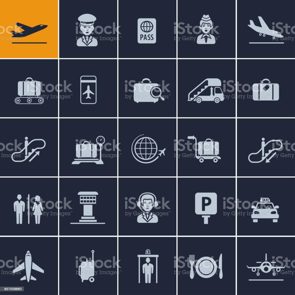 Airport Icon Set vector art illustration