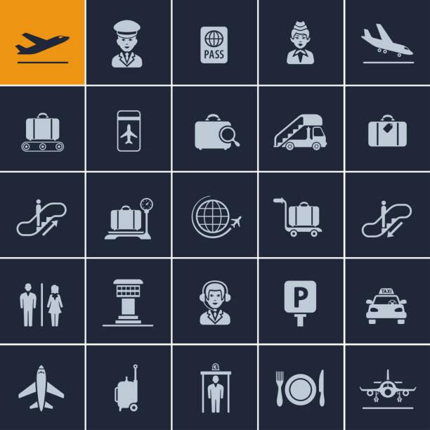 illustrazioni stock, clip art, cartoni animati e icone di tendenza di airport icon set - illustrazioni su destinazioni di viaggio