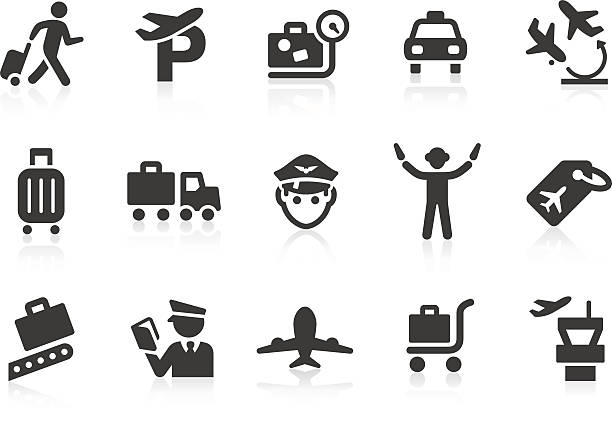 Airport icons 2 Simple airport related vector icons for your design and application. Files included: vector EPS, JPG, PNG. airport clipart stock illustrations