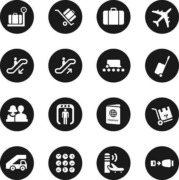 Airport Icons - Black Circle Series Airport Icons Black Circle Series Vector EPS10 File. airport clipart stock illustrations
