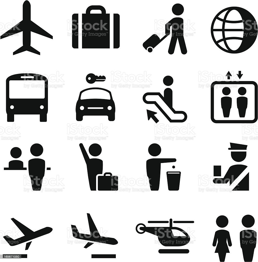 Airport Icons - Black Series vector art illustration