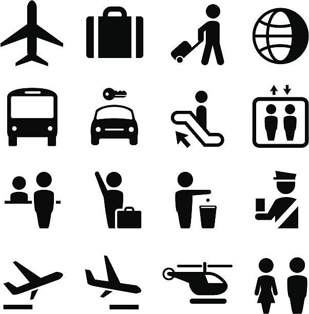 airport icons - black series - travel agent stock illustrations, clip art, cartoons, & icons
