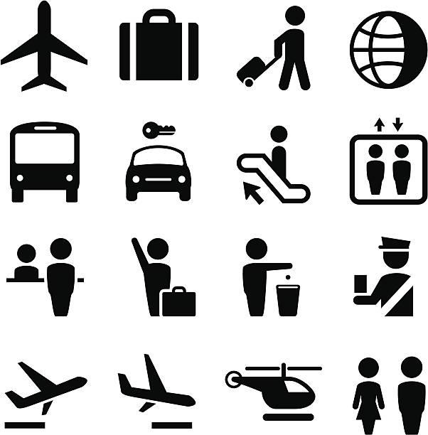 Aéroport de série d'icônes-Noir - Illustration vectorielle