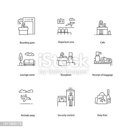istock Airport icons, navigation vector set. 1311905175