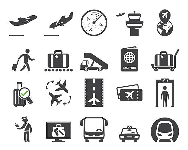 Airport icons set // 02 Airport icons set  wayfinding system pictograms airport stock illustrations