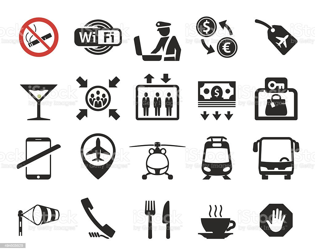 Airport icons set // 03 vector art illustration