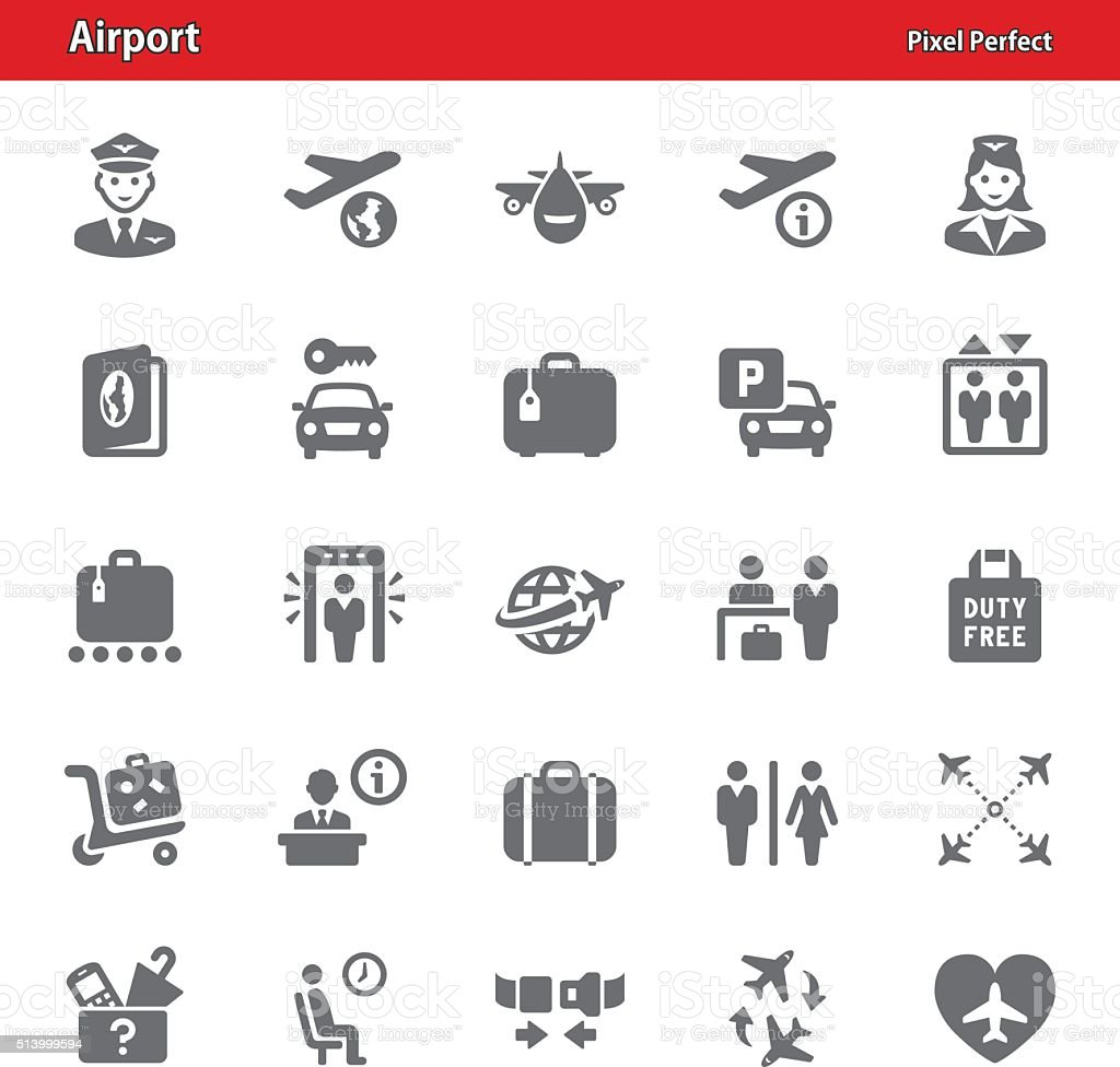 Airport Icons - Set 1 vector art illustration