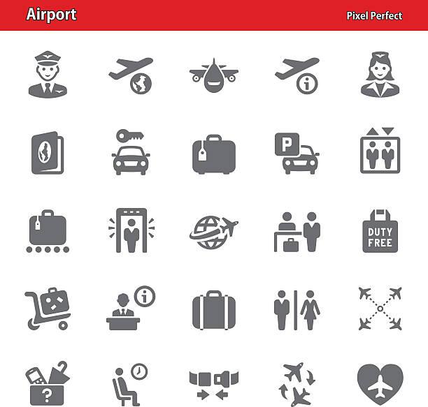 Airport Icons - Set 1 vector art illustration