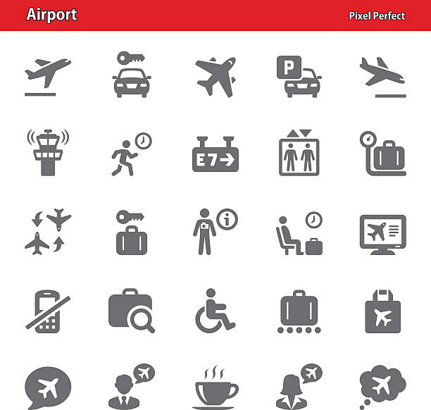 airport icons - set 4 - travel agent stock illustrations, clip art, cartoons, & icons
