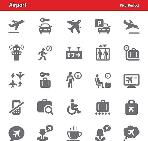 Aéroport le plus pratique Icônes Ensemble 4 - Illustration vectorielle