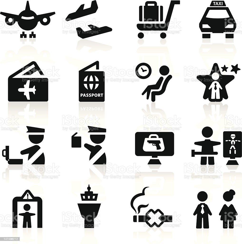 Airport icons conjunto elegante serie - ilustración de arte vectorial