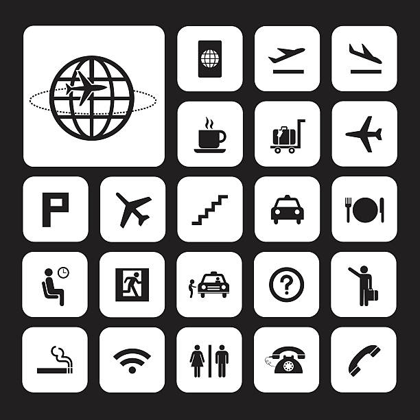 airport icons set vector basic icon set for airport airport clipart stock illustrations