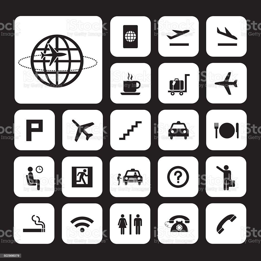 Flughafen icons set – Vektorgrafik