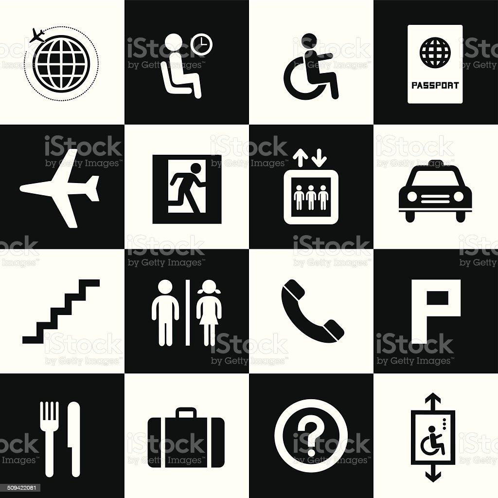 Airport icons set royalty-free stock vector art