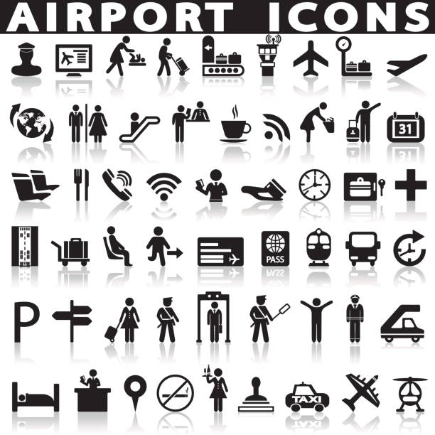 Airport icons set. Airport icons set on a white background with a shadow airport icons stock illustrations