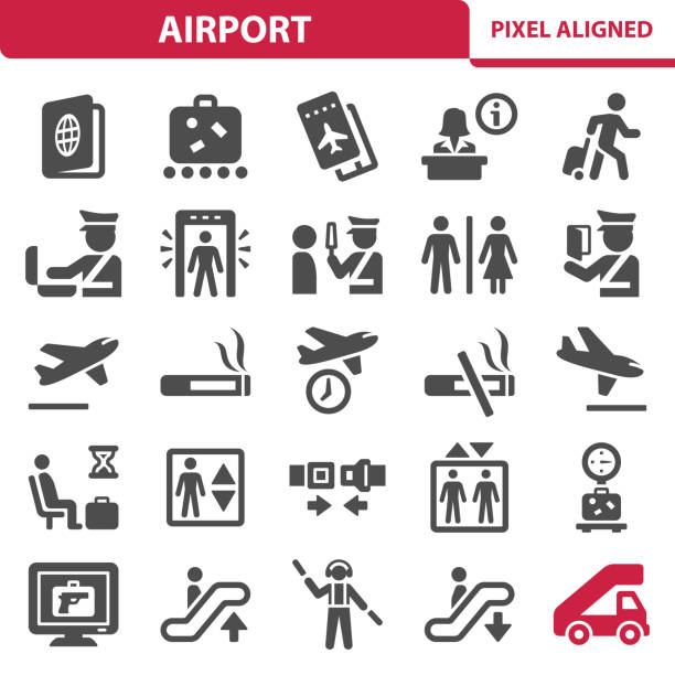 airport icons - airport stock illustrations